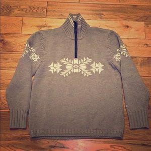 Men's gray holiday sweater merino wool.